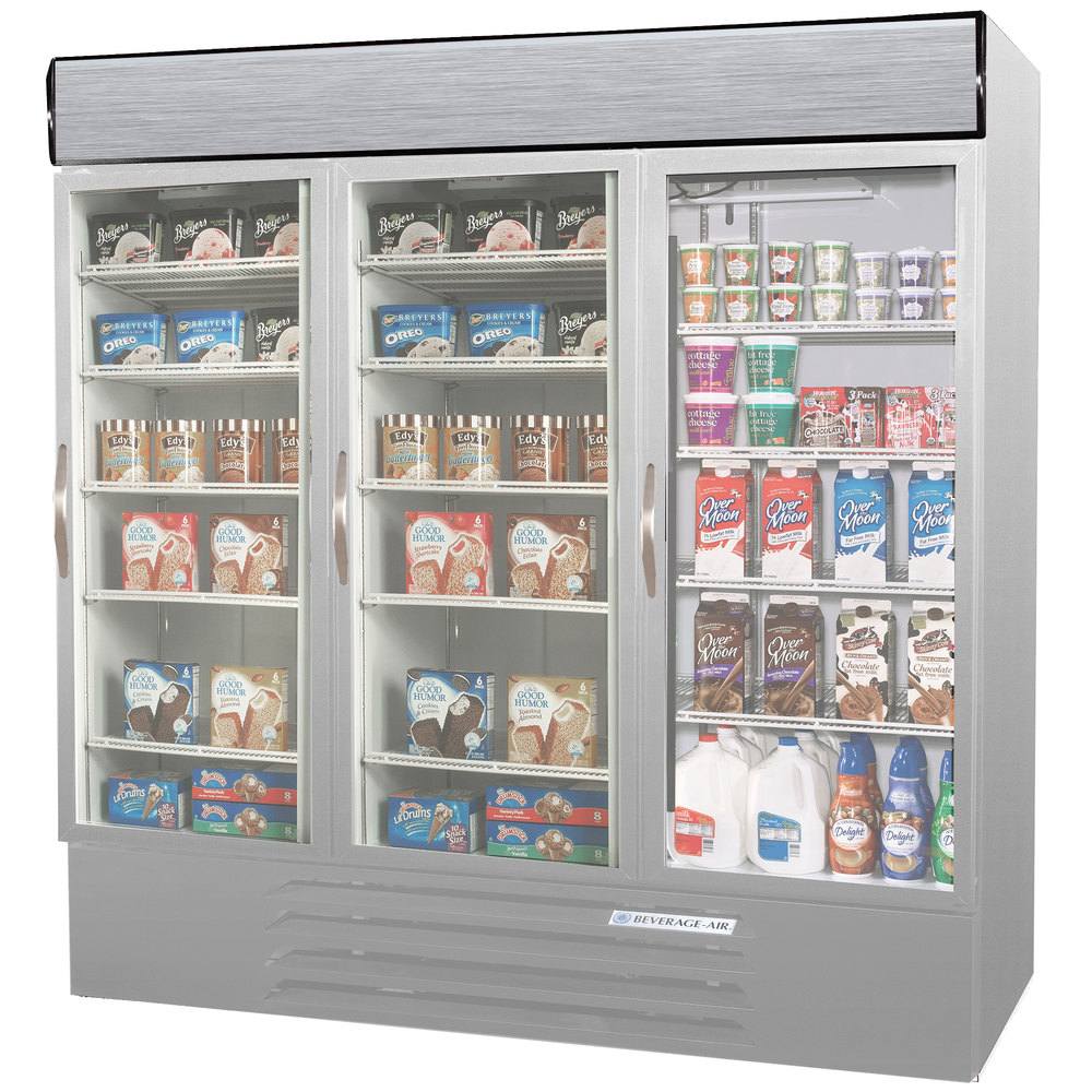 Configuration N Beverage Air MMRF72-1-SW-LED Market Max Stainless Steel Three Section Glass Door Dual Temperature Merchandiser - 72 Cu. Ft.