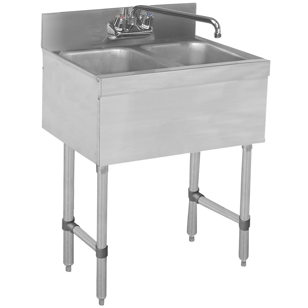 "Advance Tabco SLB-22C Lite Two Compartment Stainless Steel Bar Sink - 24"" x 18"""