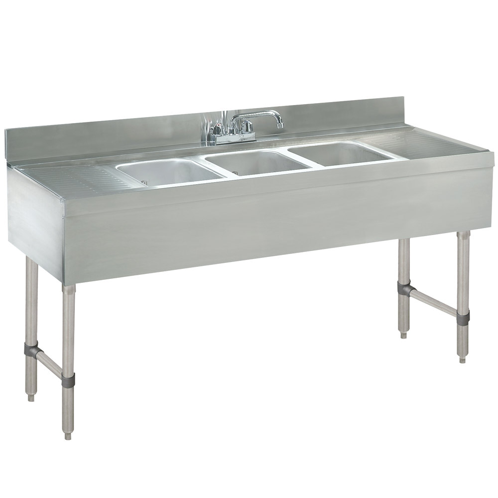 Advance Tabco Crb 53c Lite Three Compartment Stainless