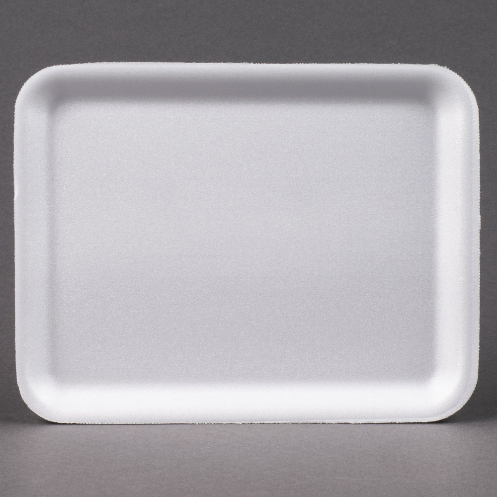 "Genpak 1004S (#4S) White 9 1/4"" x 7 1/4"" x 1/2"" Foam Supermarket Tray - 125 / Pack"