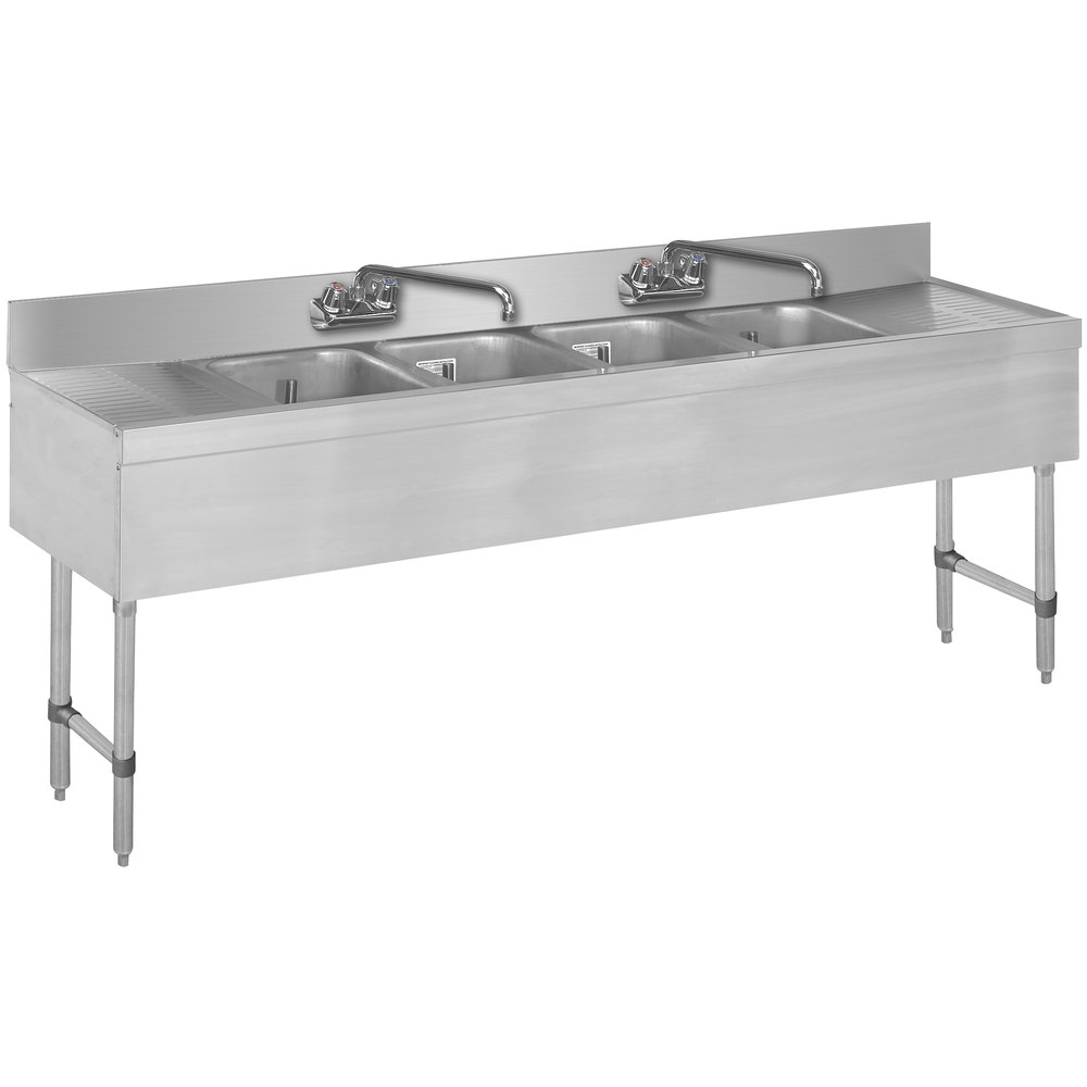 Advance Tabco SLB-64C Lite Four Compartment Stainless Steel Bar Sink ...
