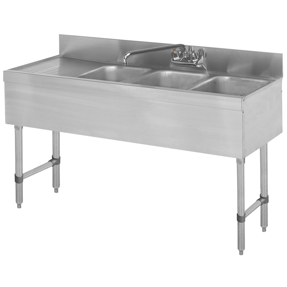 Advance Tabco Slb 43r Lite Three Compartment Stainless