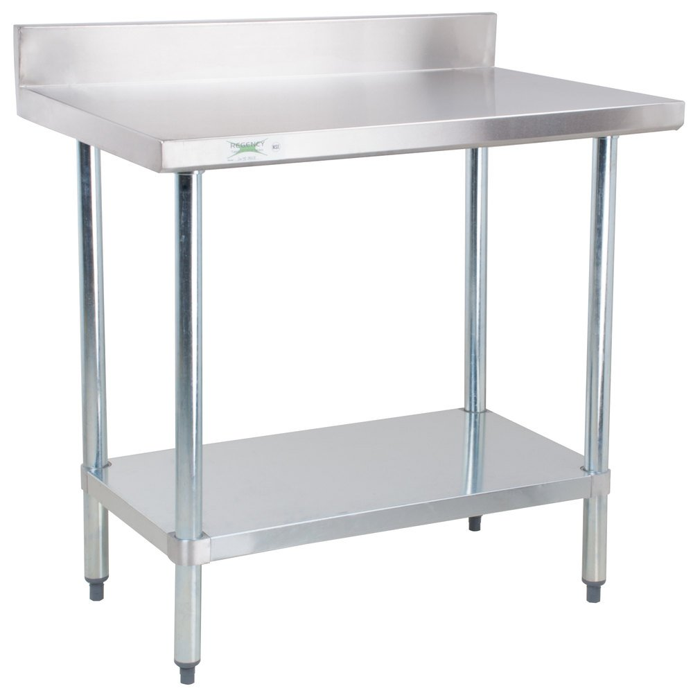 Regency 30 x 36 18 gauge 304 stainless steel commercial work table with 4 backsplash and - Stainless kitchen tables ...