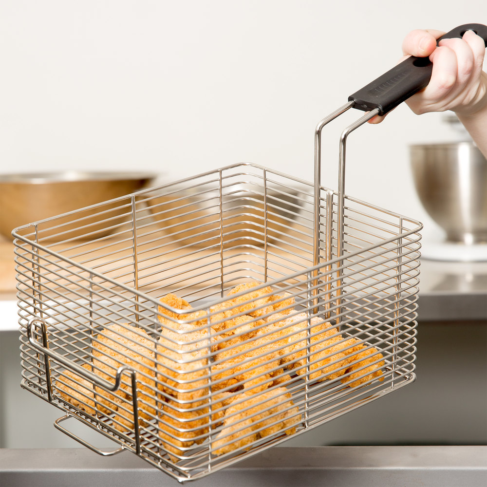 "Vollrath FFB2250 9"" x 8"" x 5"" Large Fryer Basket with Front Hook"