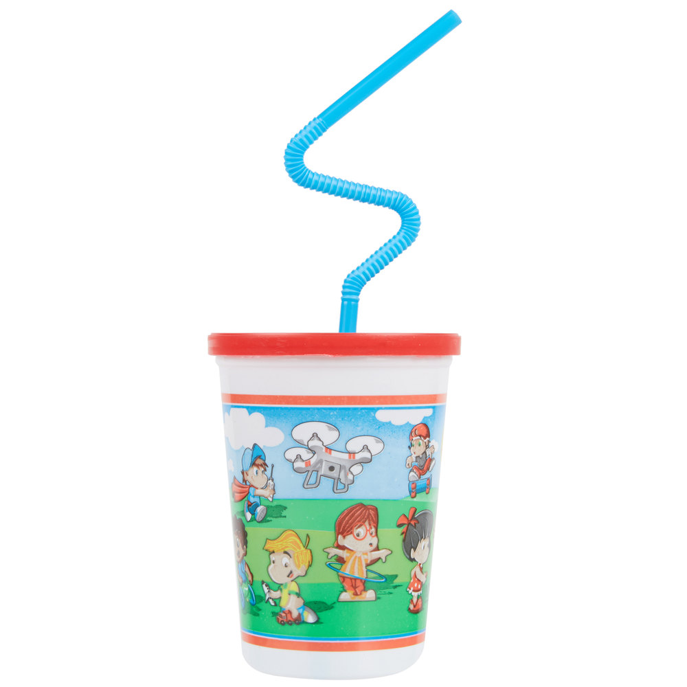 Plastic kid 39 s cup with reusable lid and curly straw 250 case - Cups and kids ...