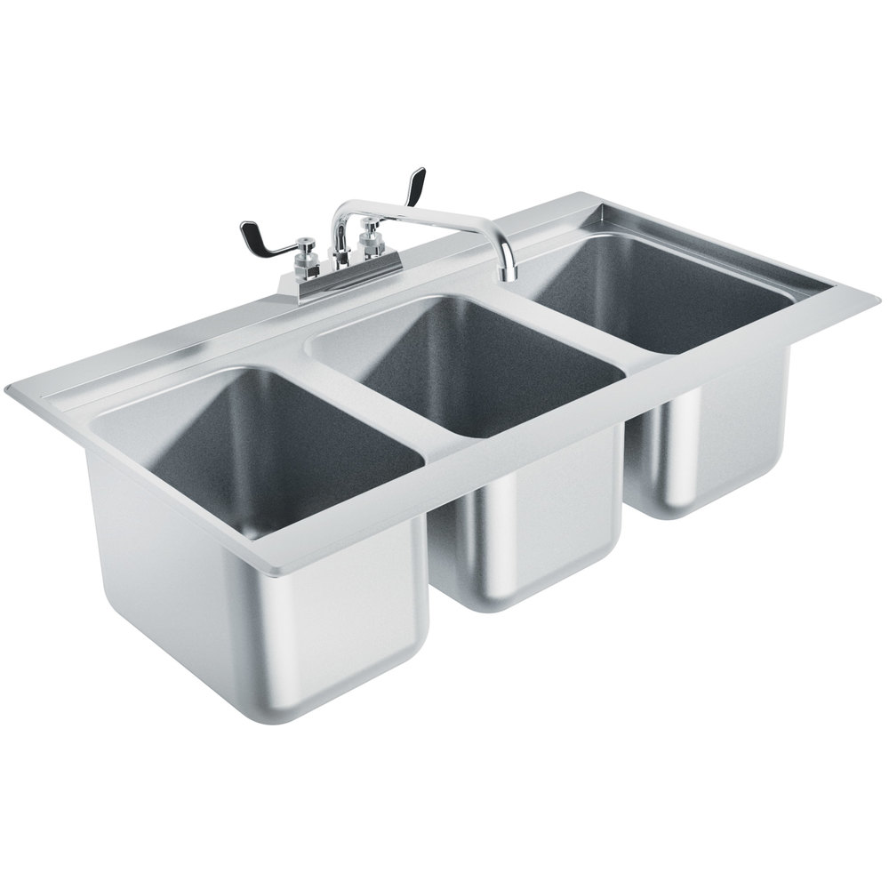 Advance Tabco Dbs 3 Three Compartment Stainless Steel Drop