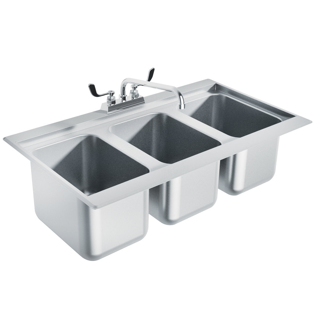 ... DBS-3 Three Compartment Stainless Steel Drop-In Bar Sink - 36