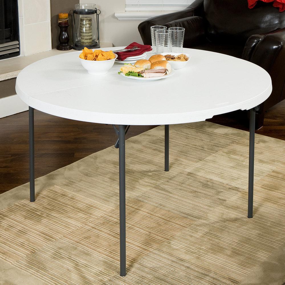 lifetime round fold in half table 48 plastic white granite 10