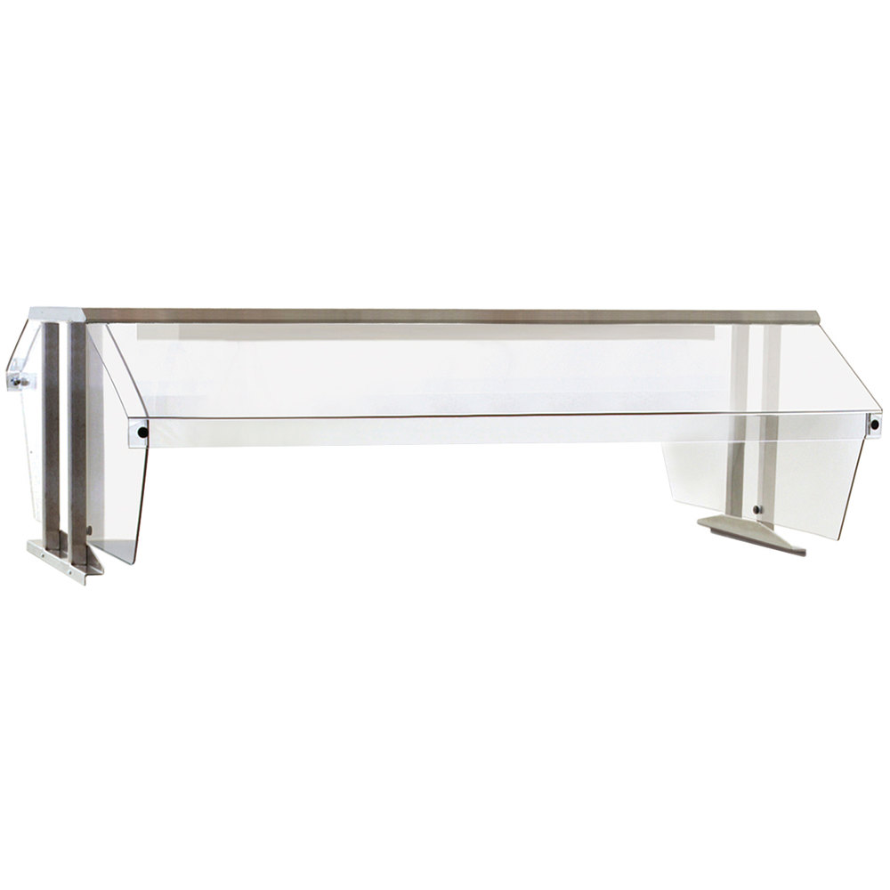 Eagle group bs2 ht3 stainless steel buffet shelf with 2 sneeze guards for 3 well food tables - Sneeze guard for steam table ...