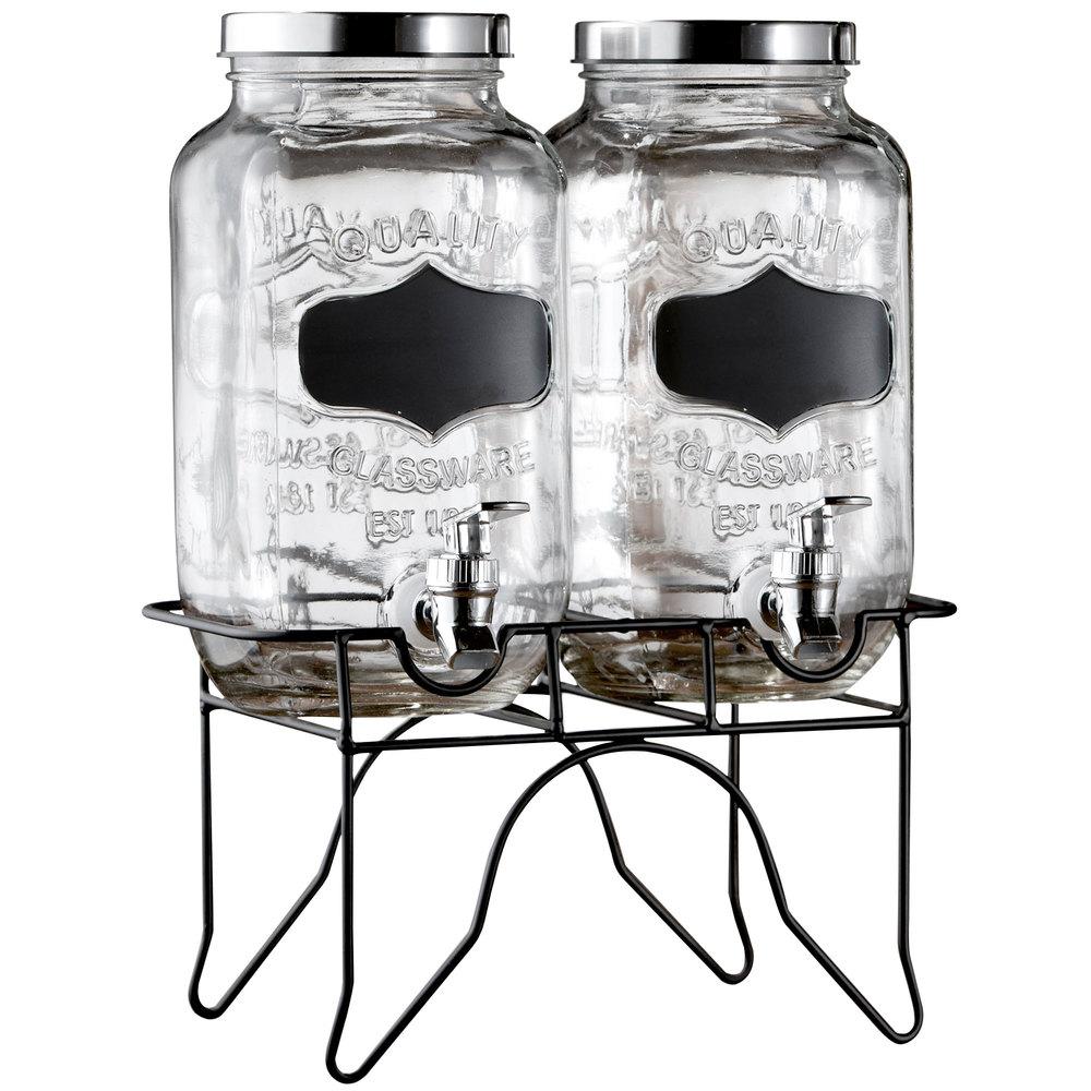 double 0 8 gallon style setter blackboard glass beverage dispenser with metal stand. Black Bedroom Furniture Sets. Home Design Ideas