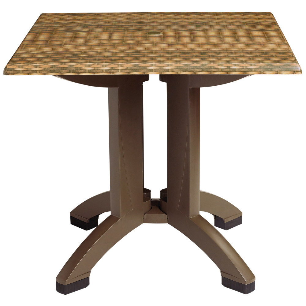60 Inch Square Pedestal Table: Grosfillex US240418 Sumatra 36'' Wicker Decor Square Pedestal Table With Umbrella Hole
