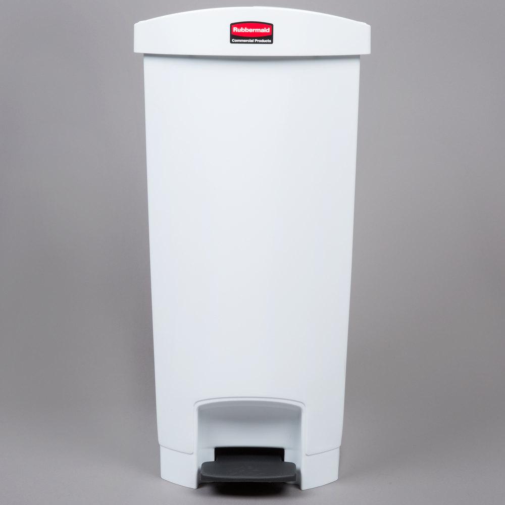 rubbermaid slim jim resin white end stepon trash can with rigid plastic liner 13 gallon