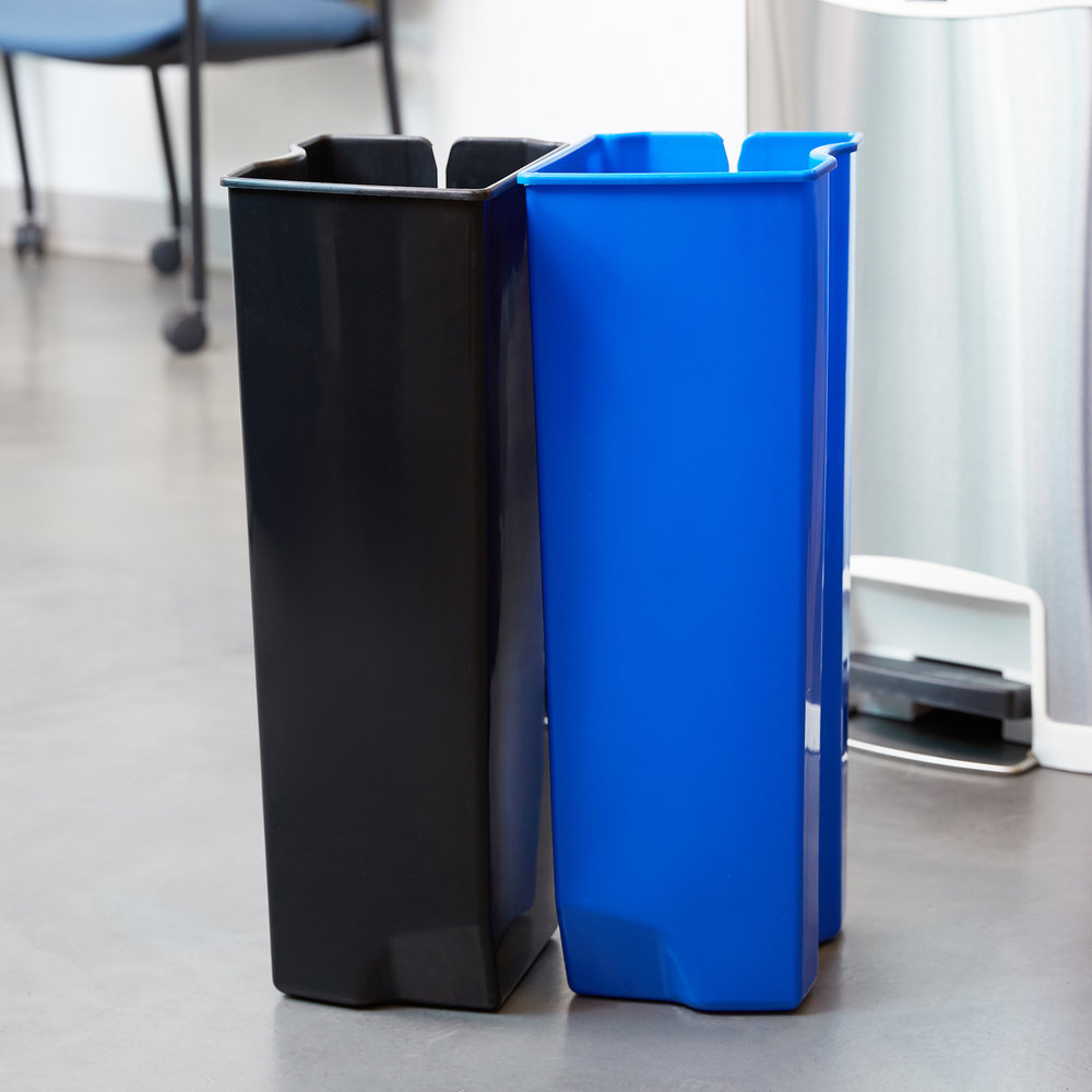 rubbermaid slim jim black and blue dual waste and recycling plastic liner set for 13 gallon stainless steel front stepon trash can - 13 Gallon Trash Can
