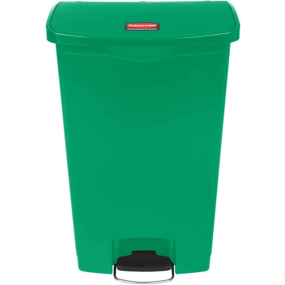 Rubbermaid 1883586 Slim Jim Resin Green Front Step-On Trash Can - 18 ...