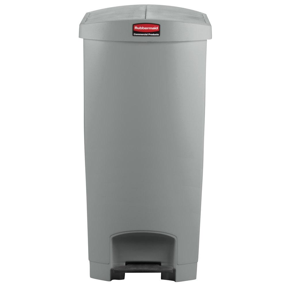 rubbermaid slim jim resin gray end stepon trash can with rigid plastic liner 24 gallon