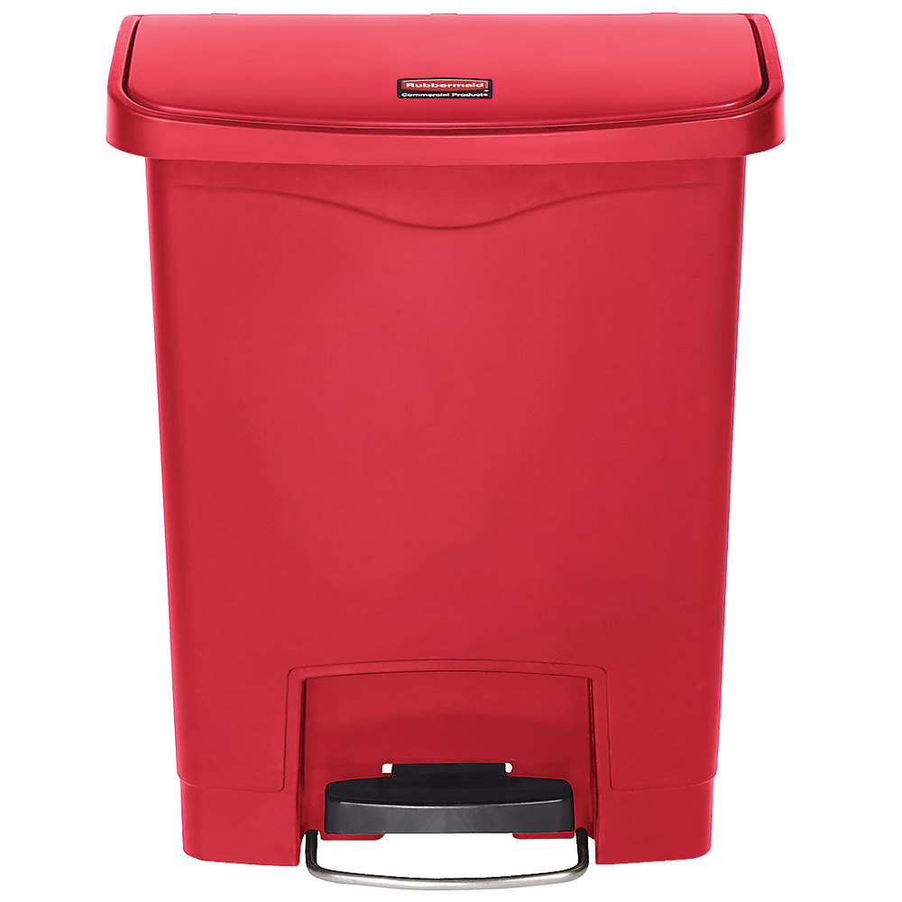 rubbermaid 1883564 slim jim resin red front step on trash can 8 gallon. Black Bedroom Furniture Sets. Home Design Ideas
