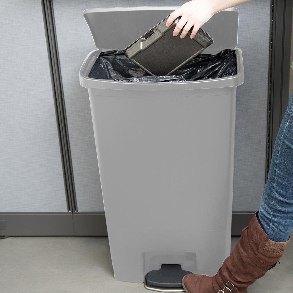 rubbermaid slim jim resin gray front stepon trash can 18 gallon - Slim Trash Can