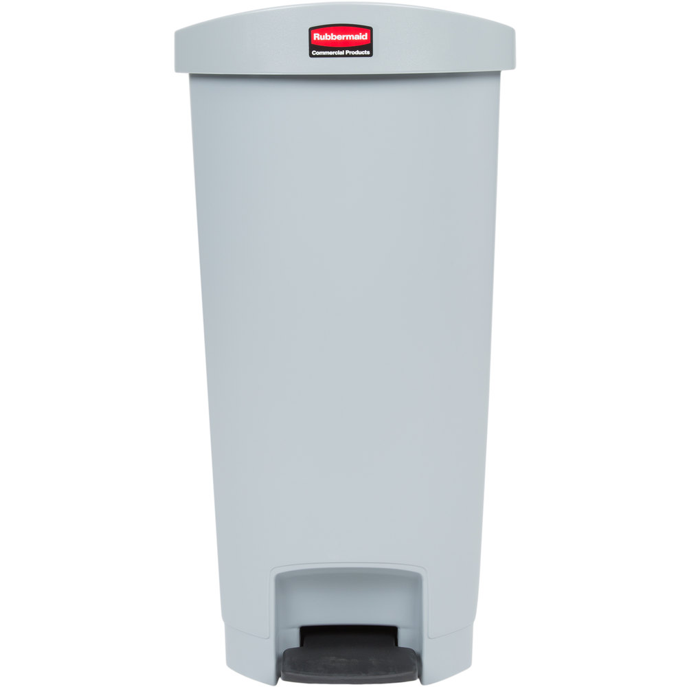 Rubbermaid 1883603 Slim Jim Resin Gray End Step-On Trash Can with ...