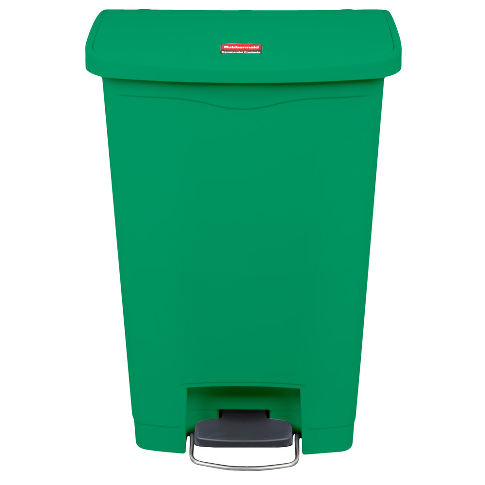 Rubbermaid 1883584 Slim Jim Resin Green Front Step-On Trash Can - 13 ...