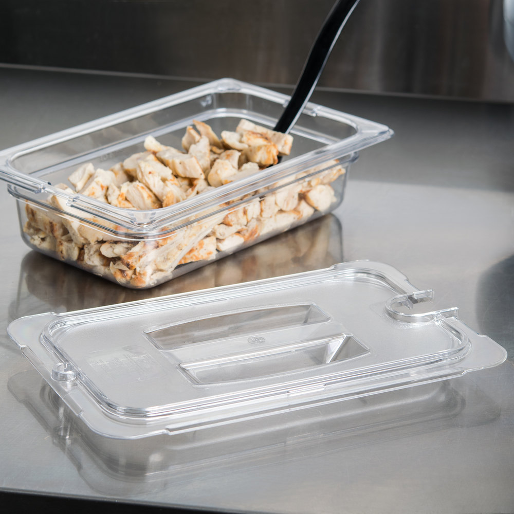 Carlisle 10291U07 StorPlus 1/4 Size Clear Universal Handled Lid with Spoon Notch