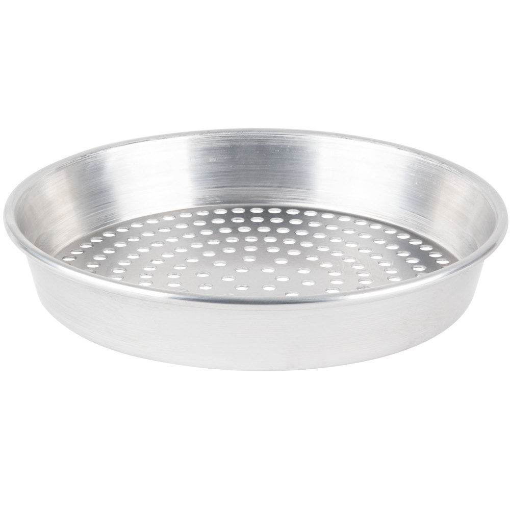 "American Metalcraft HA90102SP 10"" x 2"" Super Perforated Tapered / Nesting Heavy Weight Aluminum Pizza Pan"