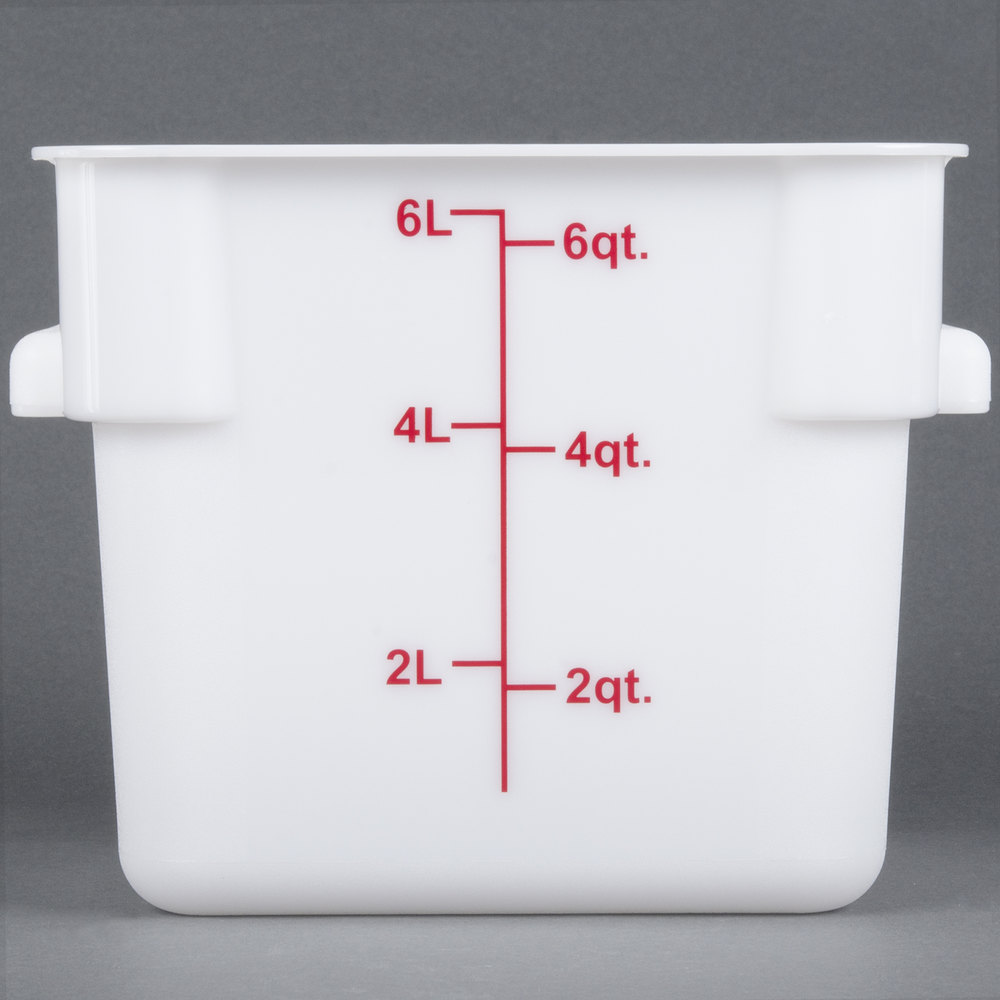 6 Qt. White Square Food Storage Container