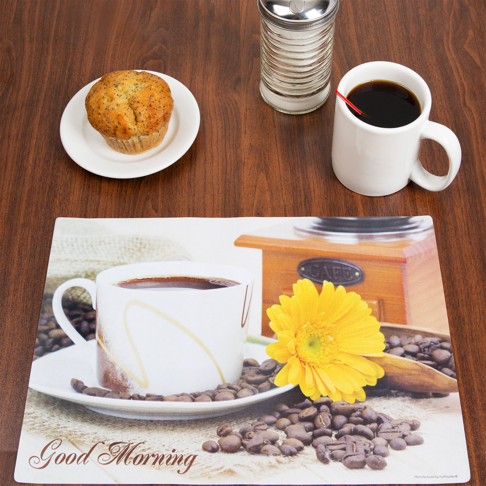 "Hoffmaster 702010 10"" x 14"" Good Morning Paper Placemat - 1000/Case"