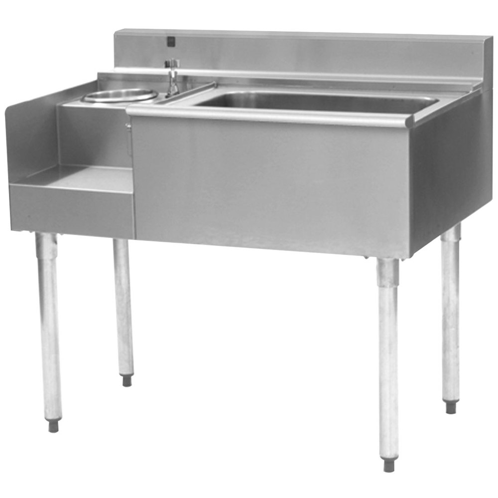 "Eagle Group BM62-18L-7 1800 Series 62"" Underbar Left Blender Module, Center Ice Bin, Right Drainboard, and Cold Plate"