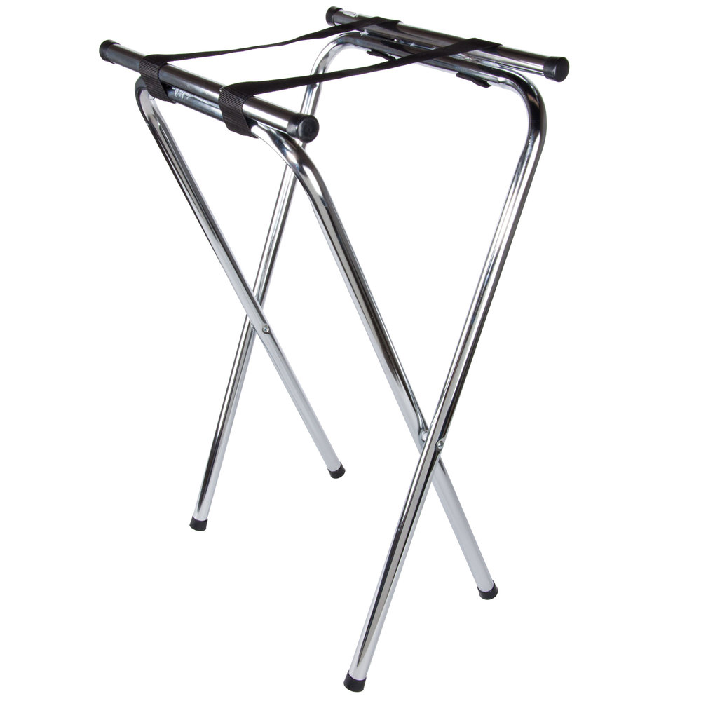 "Lancaster Table & Seating 19"" X 16"" X 31"" Folding Chrome Double Bar Tray Stand"
