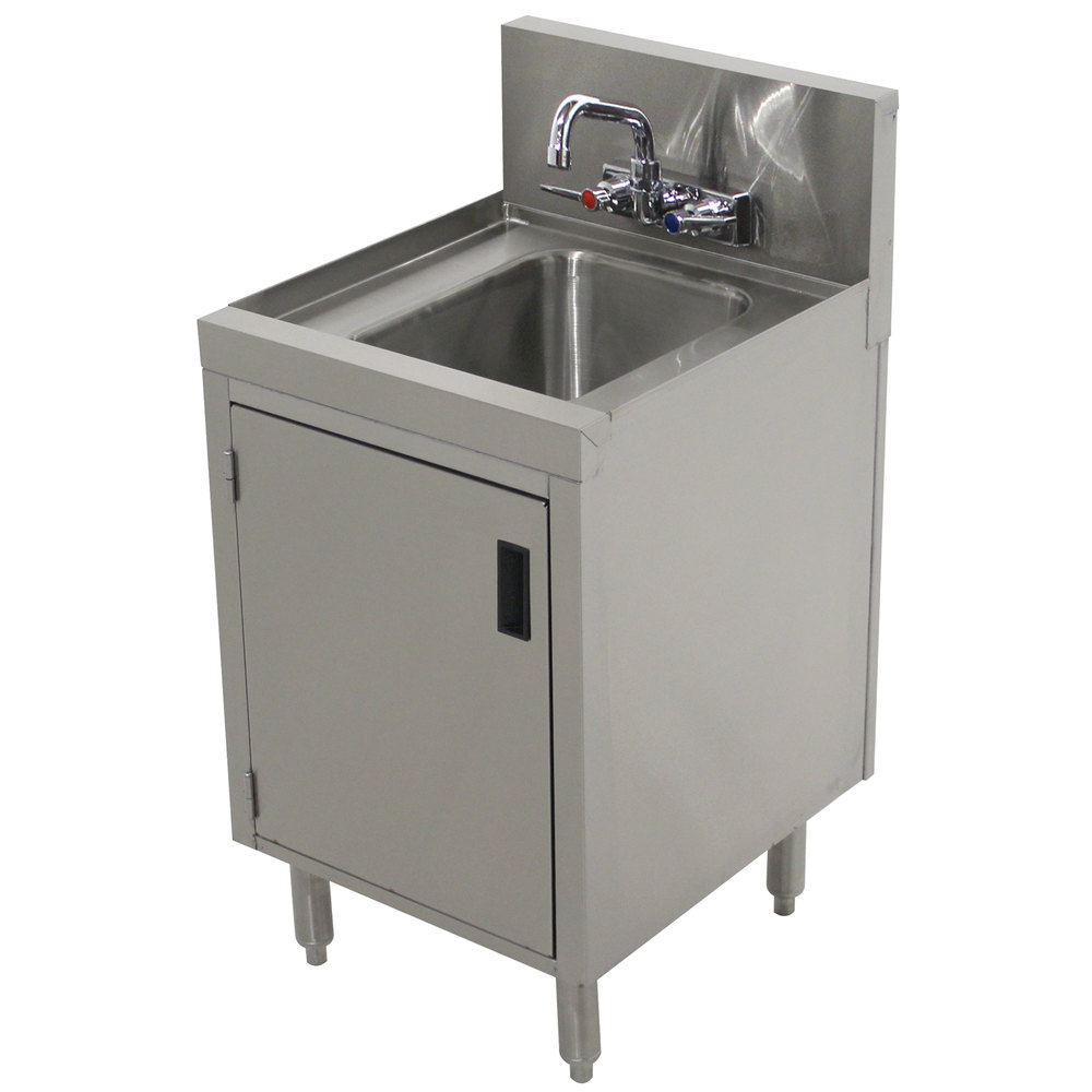 ... Stainless Steel Underbar Hand Sink with Cabinet Base - 20