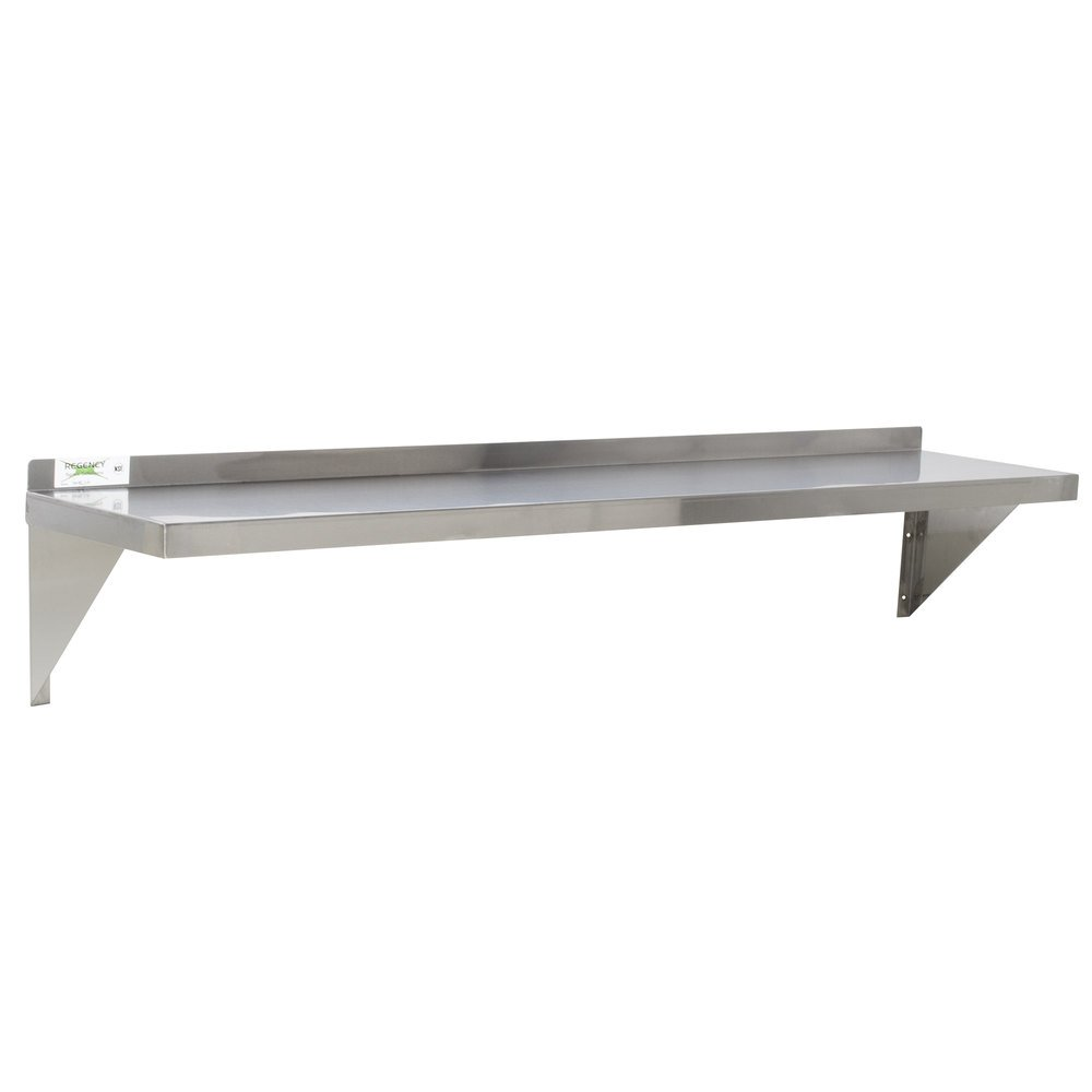 "Regency 16 Gauge Stainless Steel 12"" x 48"" Heavy Duty Solid Wall Shelf"