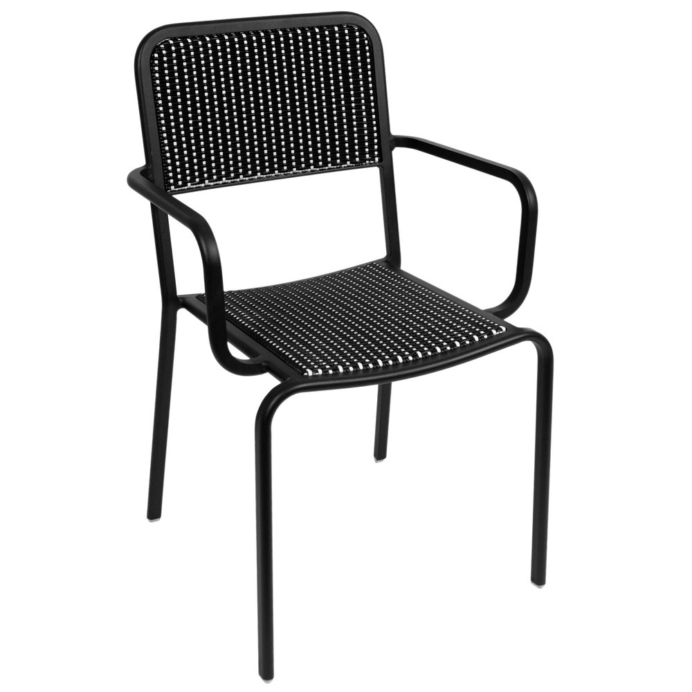 BFM Seating DV353BWBL Rio Outdoor Indoor Stackable Synthetic Wicker Arm Chair