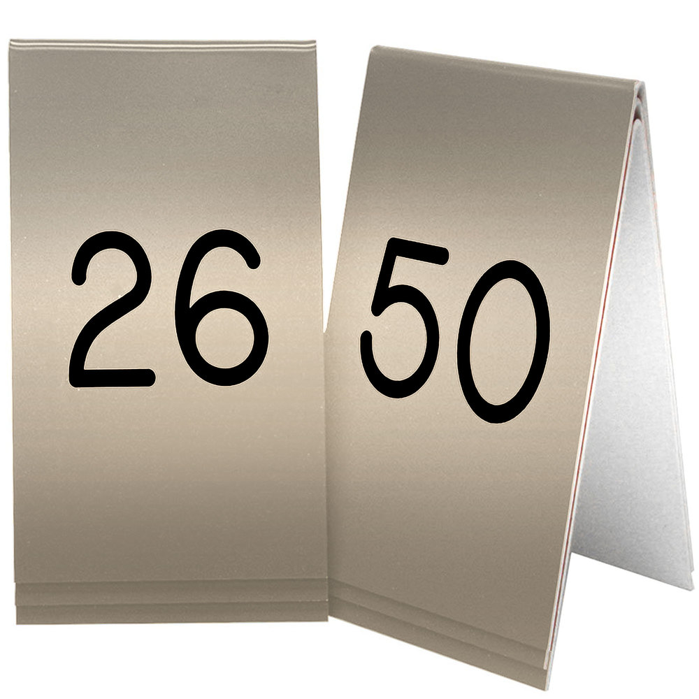 "Cal-Mil 271B-11 Gold Engraved Number Tent Sign Set 26-50 - 3 1/2"" x 5"""
