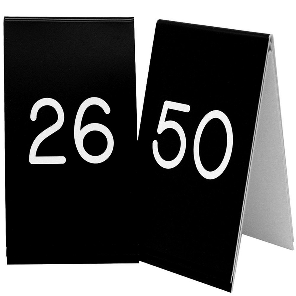 "Cal-Mil 271B-2 Black Engraved Number Tent Sign Set 26-50 - 3 1/2"" x 5"""