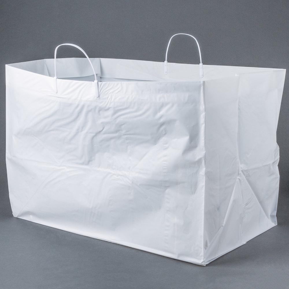 22 Quot X 14 Quot X 15 Quot White Rigid Plastic Handled Shopper Bag