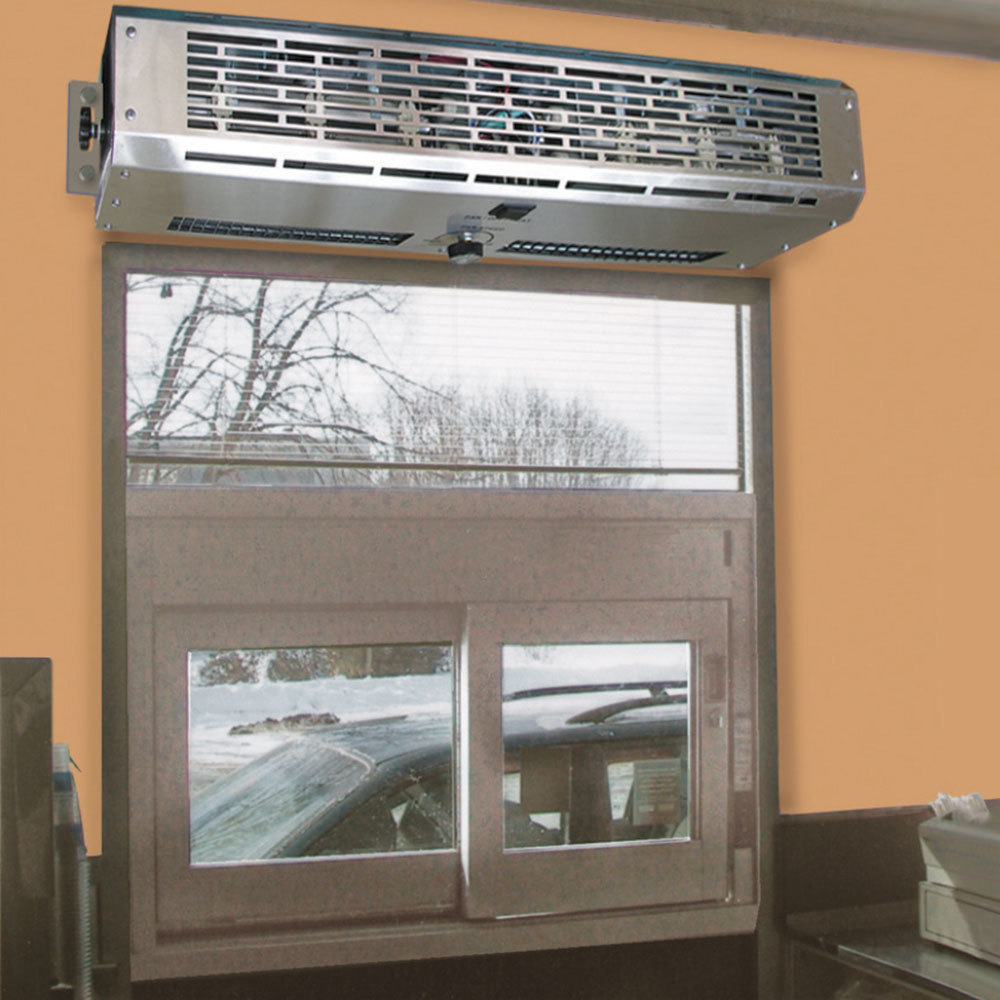 Curtron dt 24 2 go pro 24 drive thru window air curtain for Window heater
