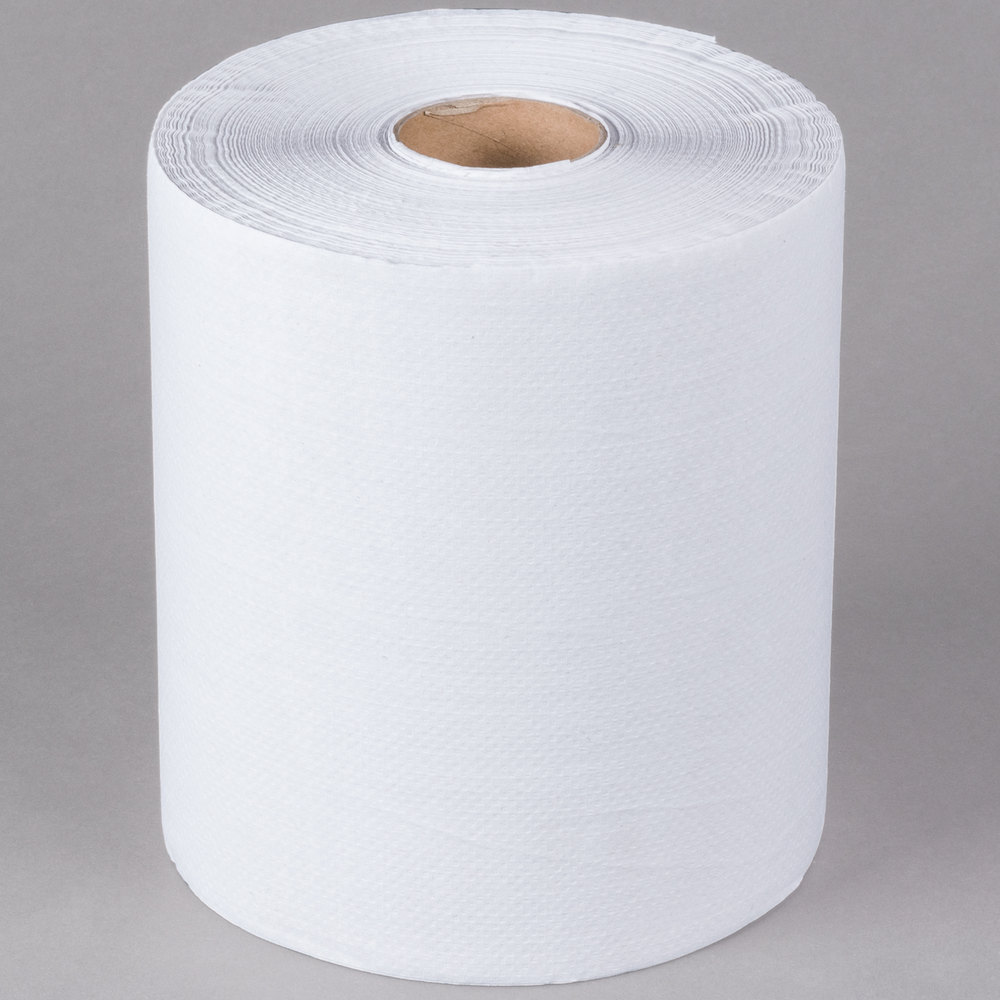 Lavex Janitorial White Roll Towel 600 Feet / Roll - 12/Case