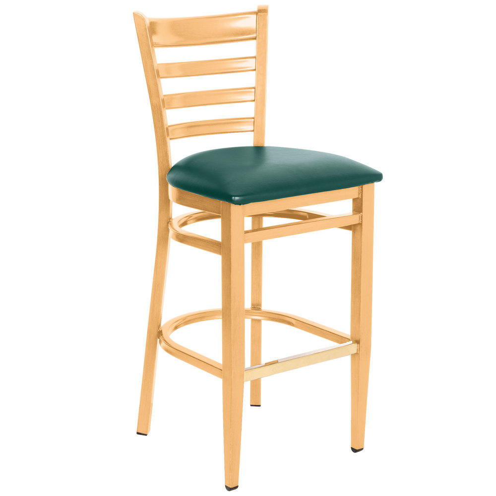Knocked Down Lancaster Table & Seating Spartan Series Bar Height Metal Ladder Back Chair with Natural Wood Grain Finish and Green Vinyl Seat