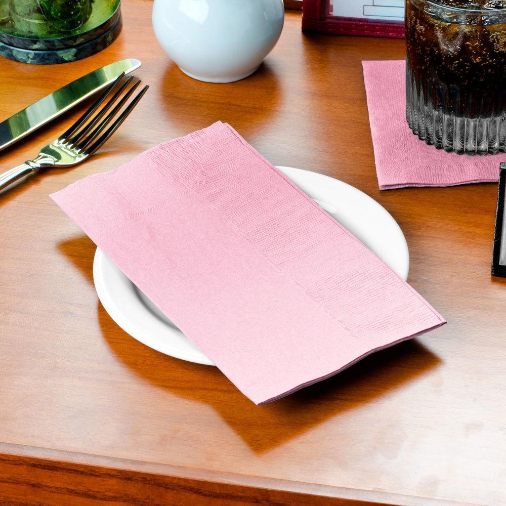 "Choice 15"" x 17"" Pink 2-Ply Paper Dinner Napkin - 125/Pack"