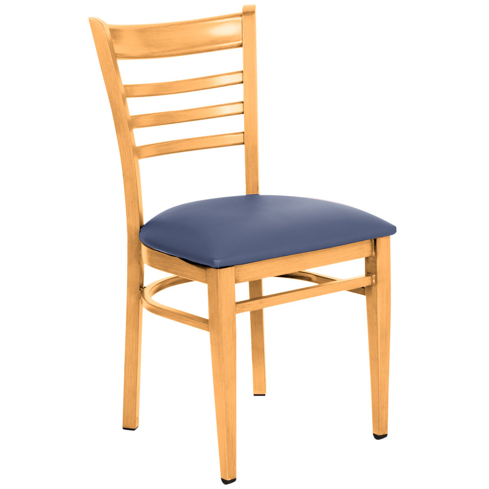 Lancaster Table & Seating Spartan Series Metal Ladder Back Chair with Natural Wood Grain Finish and Navy Vinyl Seat