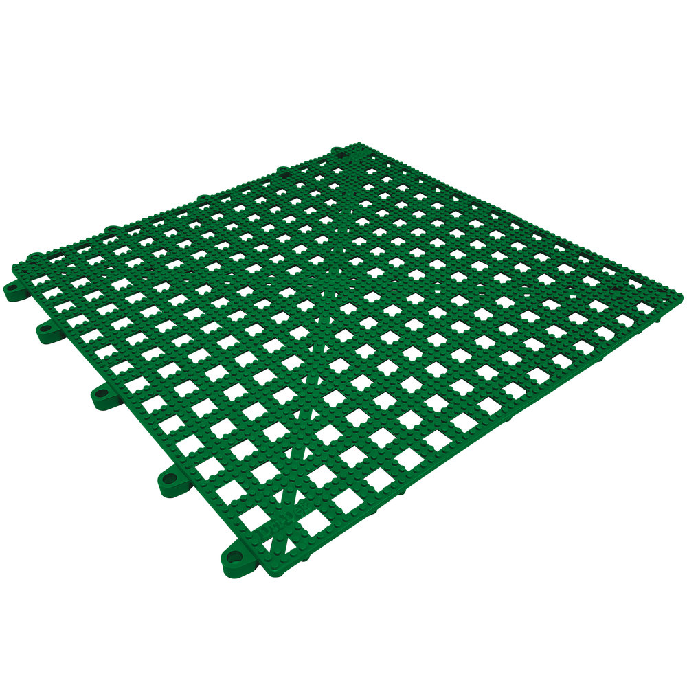 "Cactus Mat 2554-HGT Dri-Dek 12"" x 12"" Hunter Green Vinyl Interlocking Drainage Floor Tile - 9/16"" Thick"