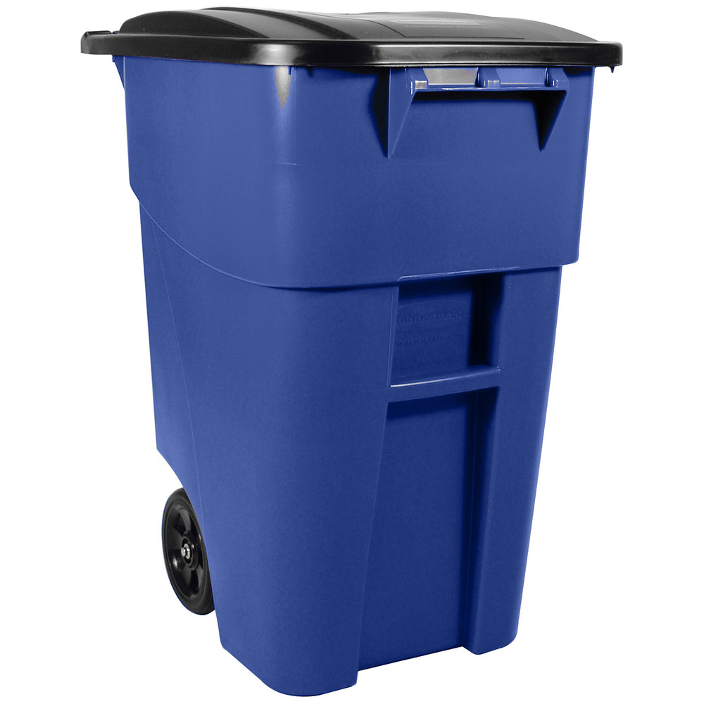 Rubbermaid fg9w2700 blue brute 50 gallon blue rollout trash container with lid - Home depot recycling containers ...