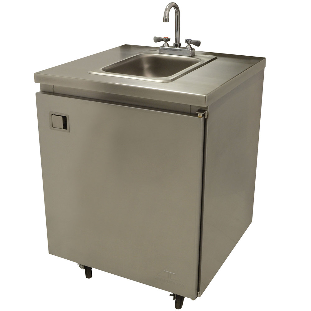 Portable Stainless Steel Sink : ... Portable Self-Contained Stainless Steel Hand Sink Cart with Deck Mount