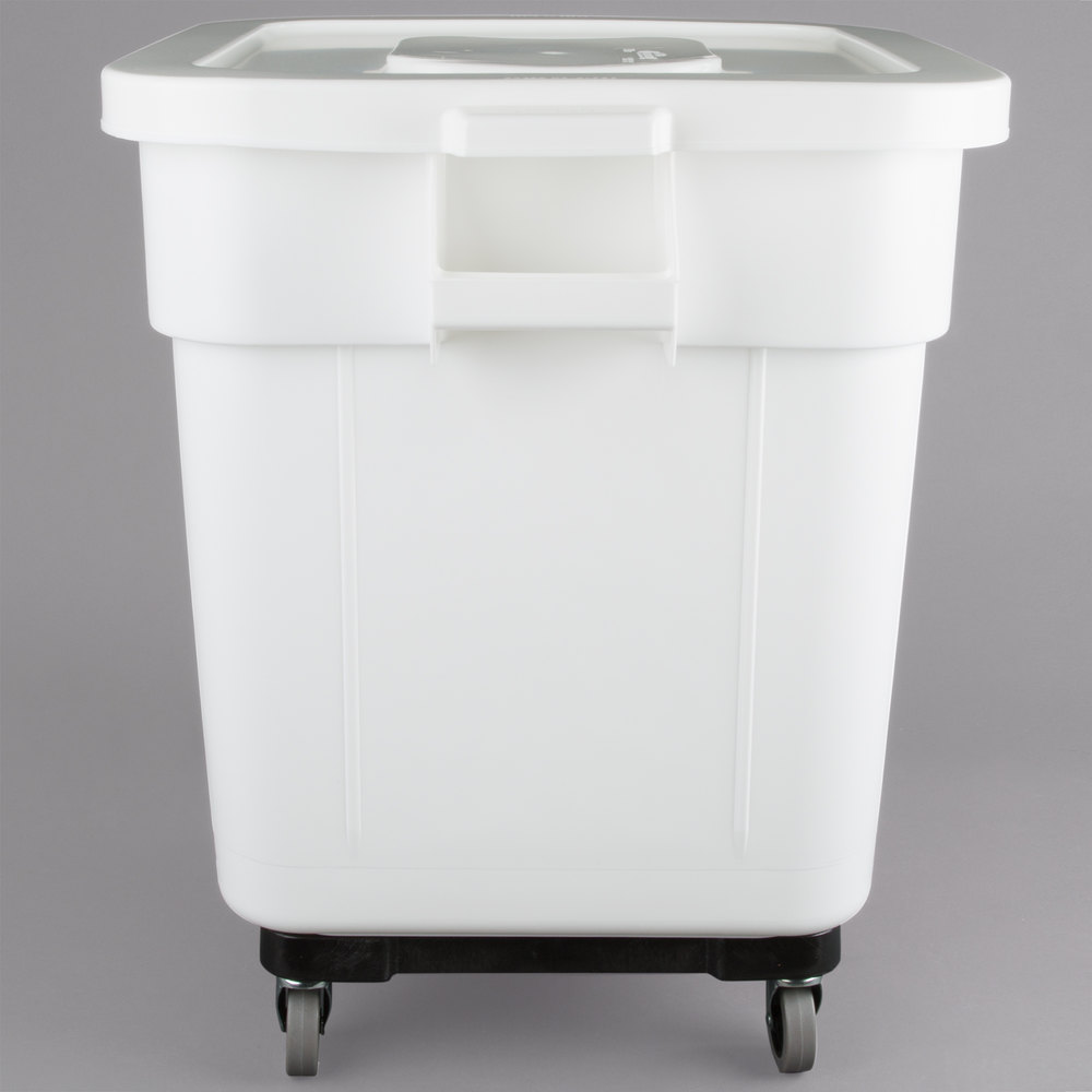 baker 39 s mark 32 gallon white mobile ingredient storage bin with lid. Black Bedroom Furniture Sets. Home Design Ideas