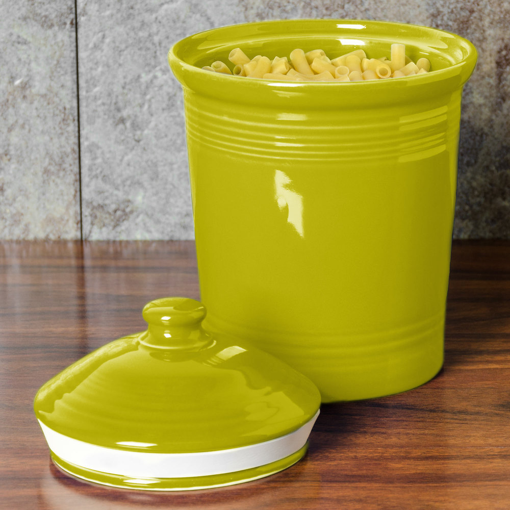 Homer Laughlin 571332 Fiesta Lemongrass Small 1 Qt. Canister with Cover - 2 / Case