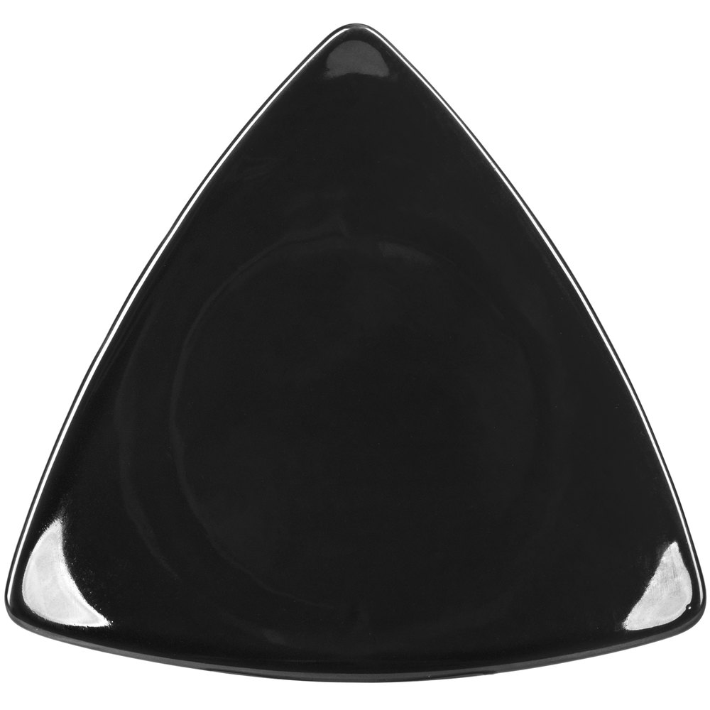 "CAC TRG-16BK Festiware Triangle Flat Dinner Plate 10 1/2"" - Black - 12/Case"