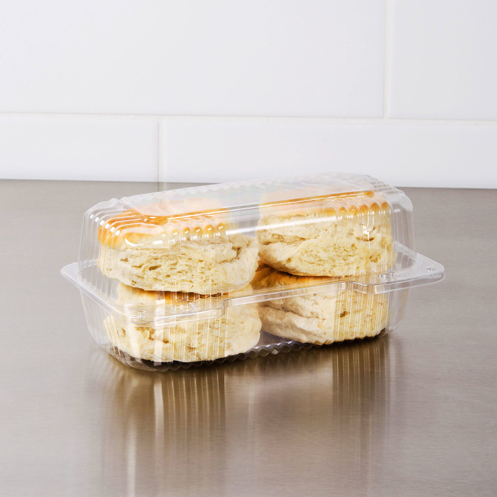 "Dart Solo C19UT1 StayLock 8 1/2"" x 4 1/2"" x 3 5/8"" Clear Hinged Plastic Small High Dome Oblong Container - 250/Case"