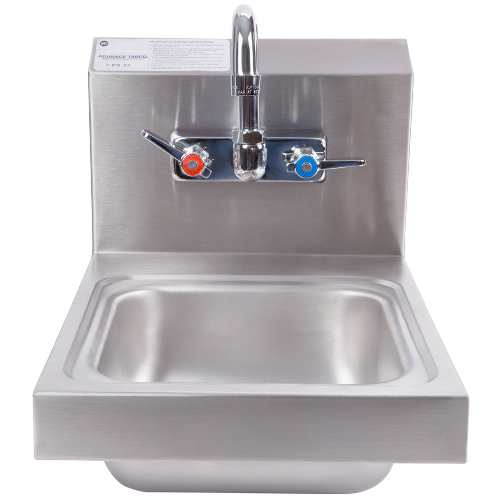 "Advance Tabco 7-PS-23 Space Saving Hand Sink with Splash Mount Faucet - 12"" x 16"""