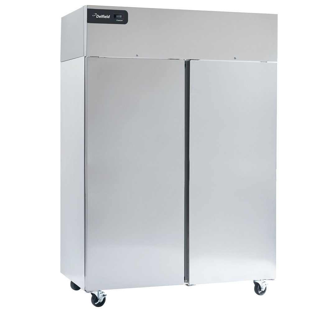 "Delfield GBF2P-S Coolscapes 55"" Top-Mount Two Section Solid Door Stainless  Steel Reach-In Freezer - 46 cu. ft."