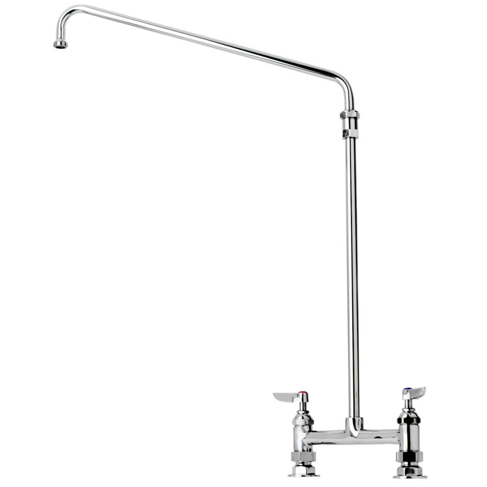 "T&S B-0281 Deck Mounted Double Pantry Faucet with 18"" Riser and 8"" Centers - 12"" Swing Nozzle"